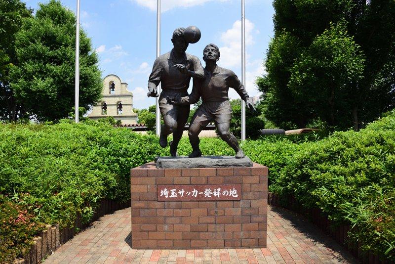 埼玉サッカー発祥の地の銅像